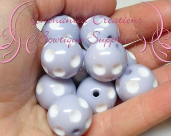 20mm Lilac With White Dip Polka Dots Qty 10, Chunky Bead, Gumball Bead, Bubblegum Bead, Chunky Jewelry Beads, Acrylic Beads, Textured Beads