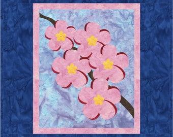 Plumeria Quilt ePattern 4266-1e, flower wall quilt pattern, appliqued wall quilt pattern