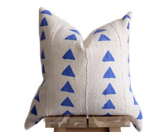 Mudcloth Pillow Cover, Authentic African Mud Cloth | Cream & Blue Triangles | 'Nia'