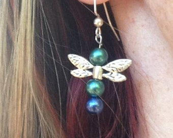 Dragonfly Blue & Green Silver Plated Beaded Earrings