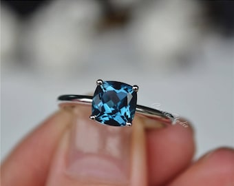 14K White Gold London Blue Topaz Ring Natural Topaz Engagement Ring Wedding Ring Promise Ring Anniversary Ring
