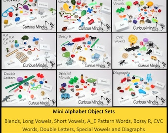 Montessori Alphabet Objects Mini Lots - Object and Word Cards for Diagraph, Blends, Special Vowels, CVC Words, Short and Long Vowels, A_E