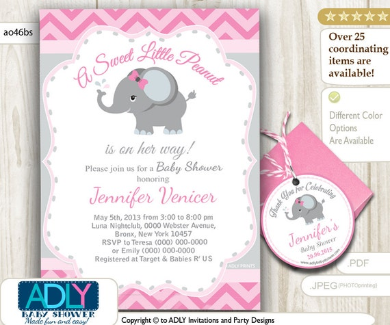 Pink Grey Elephant Invitation Baby Shower U0026 FREE Thank You