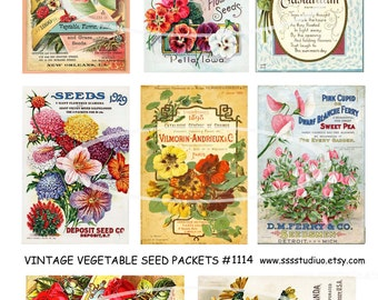Vintage Flower Seed Packets, Digital Flower Tags, Spring Labels, Mixed Media, Digital Collage Download, craft supplies  tools, card supplies