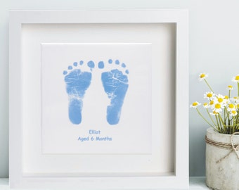 Framed Ceramic Tile Displaying Baby Hand and Foot Print  - Baby Keepsake, Baby Prints, Handprints, Footprints, Unique, 1st Christmas