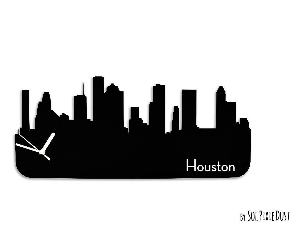 Houston Skyline Silhouette Wall Clock