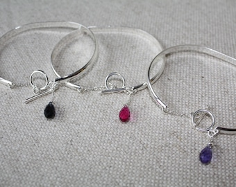 Flat bracelet Bangle in silver plated, chain and toggle clasp an Silver 925 and swarovski crystal drop