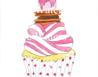 Cupcake acuarela imprimir A3