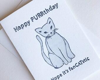 Letterpress Birthday card - FanCATstic - Illustrated