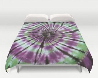 Duvet Cover-Comforter Cover-Tie Dye Bedding -Purple Black Green White-Blanket Cover-King Queen Full Twin