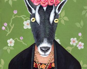 Goata Kahlo - Frida Kahlo Parody - Alternative Portrait Print of Original Painting - Fine classic Famous Female Artist Pygmy Goat Woman