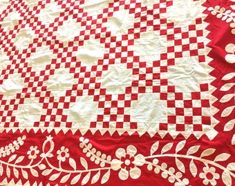 Red and White Double Irish Chain QUILT TOP - w/ hand applique borders