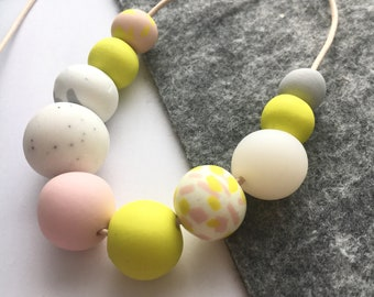 Yellow, Pink & White Statement Necklace - Polymer Clay Hand-made Beads - Adjustable Cotton Cord