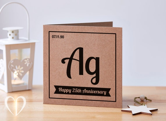 Personalised th anniversary card silver anniversary card