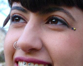 Silver nose ring, nostril ring, Nose hoop, Half moon Nose Ring, silver septum, nose ring hoop, nose jewelry, septum ring, moon nose ring