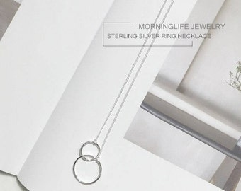 Sterling Silver Ring Necklace Minimalist Necklace Geometric Shaped Necklace Silver Circle Necklace Double Circle Necklace Infinity Necklace