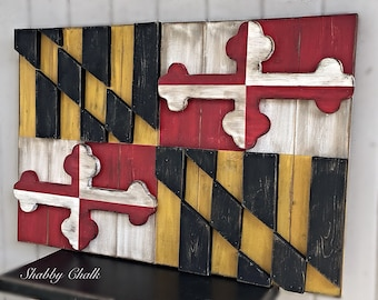 3-Dimensional Maryland Flag Wooden Sign