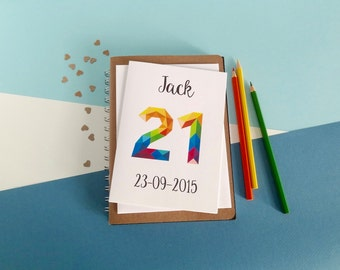21st birthday card - Any age - Any name - 16th, 18th, 20th, 21st, 30th, 40th, 50th, 60th - 80th - 90th - 100th - geometric number card