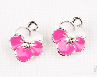 P788-S-HP// Rhodium Plated Hot Pink, White Epoxy Flower Pendant, 2 pcs
