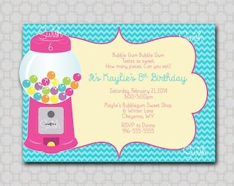 Bubble Gum Birthday Invite -  Digital Invitation - Printable 5x7 Candy Machine