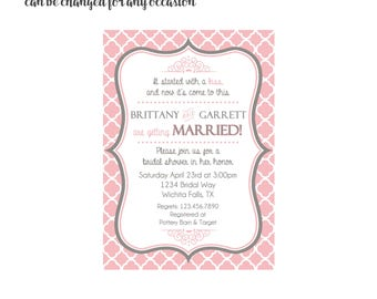 Pink Bridal Shower Invitation 4x6 or 5x7 digital you print your own- Design 6