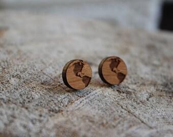 Mignonnes puces en bois terre // cute studs earrings wood earth (bo-1066)