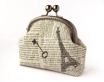 Newspaper Purse, Black White Retro Style Linen Pouch, Paris Eiffel Tower, Key
