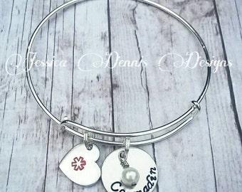 Medical Alert Bracelet - Medical Alert Bangle - Medical ID - Medical Alert Jewelry - Diabetic - Allergy Bracelet - Pretty Medical Bracelet