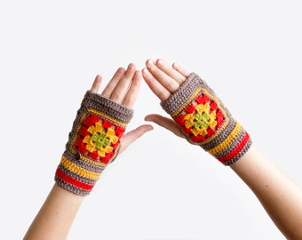 Fingerless Mittens. Granny Square Mittens. Fingerless Gloves. Colorful Mittens, Unique Gloves and Mittens