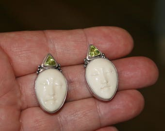 Sterling & Peridot Carved Goddess Face Earrings, Vintage Bali plus Free USA Shipping!