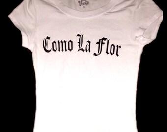 SALE! Selena T Shirt White Fitted TShirt Old English Como La Flor Selena y Los Dinos Selena Quintanilla Perez