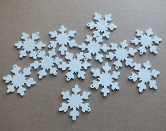 10 thin wood Snowflakes white painted with one hole