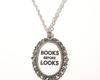 Books Before Looks Cameo Necklace