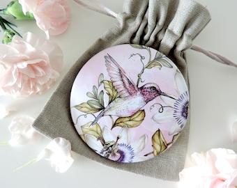 Hummingbird Pocket Mirror, Tropical Botanical Bird, Hummingbird Gift, Pink Mirror, Illustrated Mirror, Stocking Filler, Bird Gift for her
