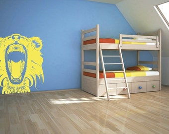 Lion Wall Art - Lion Roaring wall graphic, available in 25 colours