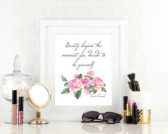 Floral Room Decor, Coco Quote, Teen Girl Wall Art, Chanel Decorations, Teen Girl Room Decor