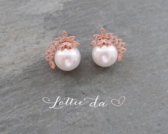 Rose Gold Vintage Style Pearl Wedding Earrings,Bridal Earrings, 1950s Wedding Stud Earrings, Gatsby, Silver, Rose Gold, Gold - 'ADENA''