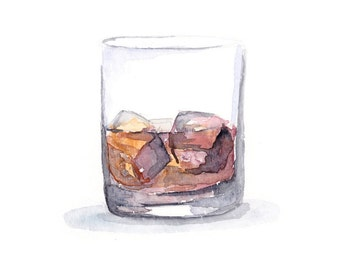 Watercolor Art Print - Bourbon On the Rocks - 8x10