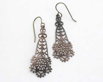 Victorian filigree earrings oxidized brass patina long dangle vintage style