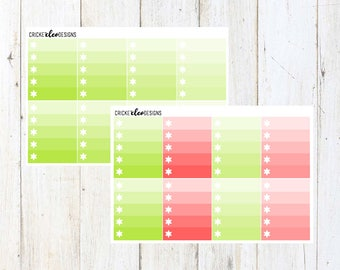 Green / Red Ombre Boxes ( 8 Matte Planner Stickers )