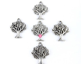 tree of life charm 10 x silver 22x17mm (66)