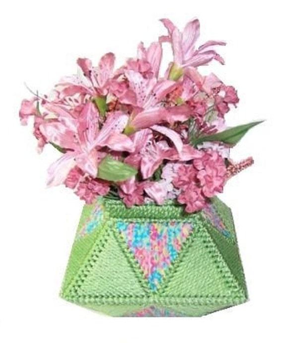 Plastic Canvas Pretty Flowers Vase Pdf Format Instant Download