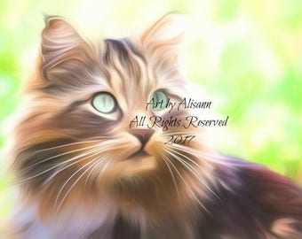 Affordable Custom Cat Portraits - You send me your Photos - I create the portrait of your CAT