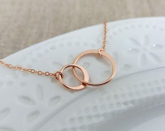 Rose Gold Two Circle Necklace, Double Circle Necklace, 2 Interlocking Circles Necklace, Couple Necklace, Christmas Gift, Shop UK Gift