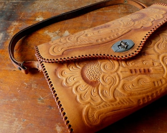 Vintage Hand-Tooled Leather Western Floral Purse