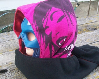Love At First Bite Female Vampire Fleece Hooded Scarf Scoodie Upcycled Shirt OOAK Ready to Ship