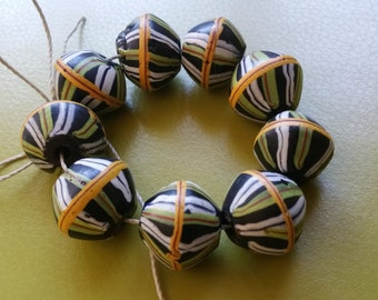 Antique Venetian KING African Trade Beads 9 Black with green white red yellow stripes  Excellent condition