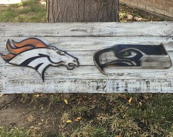 3D Denver Broncos vs. Seattle Seahawks Logo, Wall Hanging, Home Decor, Reclaimed Wood