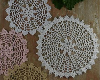 "Hand crochet doilies Round Coasters 22CM/8.8"" - 14cm/5.5"" cotton Doily Pad/Mat Wedding Table Decor Home decor"