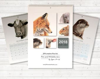 Animal Art Calendar 2018, A3 Wall Calendar, British Wildlife, Livestock and Pets, Coloured Pencil Art, 2018 Year Wall Planner